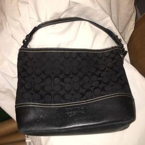 Flawless Coach Black Leather & Fabric Handbag